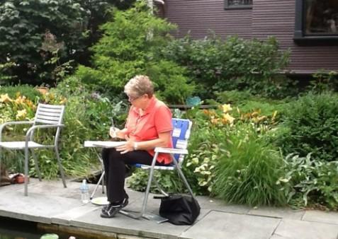 Connie Devendorf at Catherine Donovan's Garden