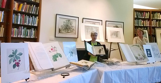 Arlene Widrevitz and Rita Hassert at Nature Artists' Guild Presentation, Sterling Morton Library, 2014