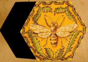 Bee pyrography, copyright Gail Diedrichsen