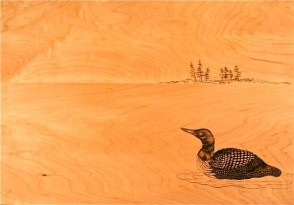 Loon pyrography, copyright Gail Diedrichsen