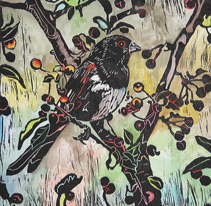Carol Cooley's block print with applied watercolor