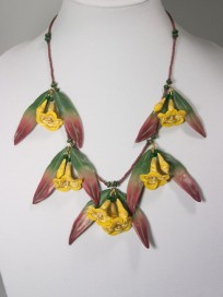 Carolina Jessamine, Polymer Clay Necklace, Copyright Karen A. Johnson
