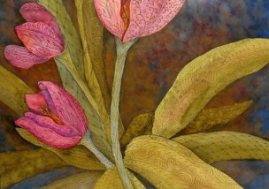 Tulip Muze, Watercolor, Copyright Patricia Mroczka