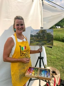 Pamela Hamilton painting en plein air at the 2018 Wine and Art Walk at The Morton Arboretum.