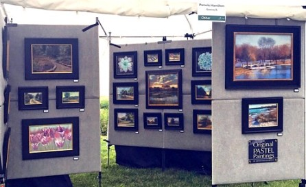 Pamela Hamilton's booth at the 2018 Wine and Art Walk at The Morton Arboretum.