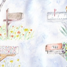 Country Mailboxes and flowers, pen and ink and watercolor, copyright Laurie Freeman