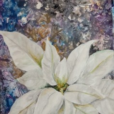 White Poinsettia, acrylic, copyright Beata Nowak