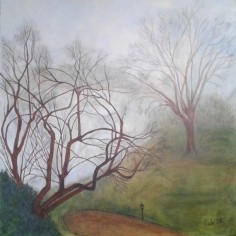 Fog on the Lake, acrylic and graphite, copyright Marlene Vitek