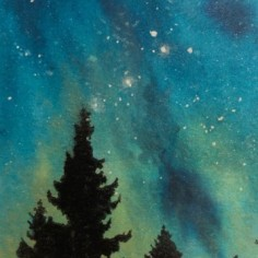 Forest Night 17, watercolor and mixed media, copyright Cheryl Holz