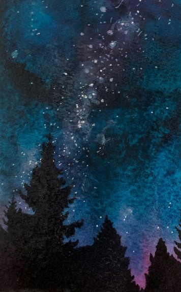 Forest Night 7, watercolor and mixed media, copyright Cheryl Holz