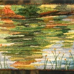 Garden Tapestry , woven wool tapestry, copyright Sharon Malec