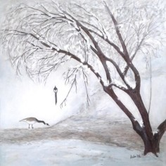 Last Snow May 2020, acrylic and graphite, copyright Marlene Vitek