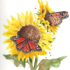 Monarchs, watercolor, copyright Laurie Alvear
