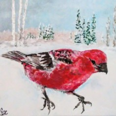 Pine Grosbeak, acrylic, copyright Carol Cooley