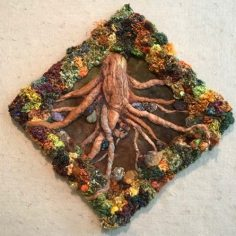 Square Root, freeform crochet frame with wool felted tree root, copyright Sharon Malec
