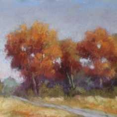 Study of Red Oak Trees, acrylic and soft pastel, copyright Laverne Bohlin