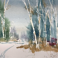 Winter Warms Me, watercolor, copyright Dan Danielson