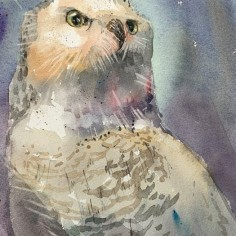 Winters'Sentinel, watercolor, copyright Dan Danielson